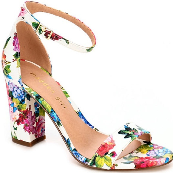 801dc22c7be Madden Girl Shoes - Madden Girl White Floral Ankle Strap Block Heels
